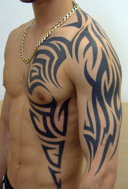 men tribal chest tattoo designs. Black Bedroom Furniture Sets. Home Design Ideas