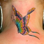 Butterfly tattoos on neck Designs, tattoo designs, tattooing, tattoos, designs, piercing, ink, pictures, images, Butterfly on Neck