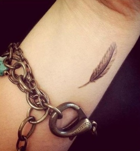 Small Feather Tattoo On Wrist
