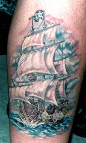 Pirate ship tattoos for Pirate tattoo meaning