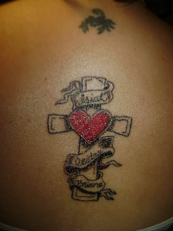 heart cross tattoos