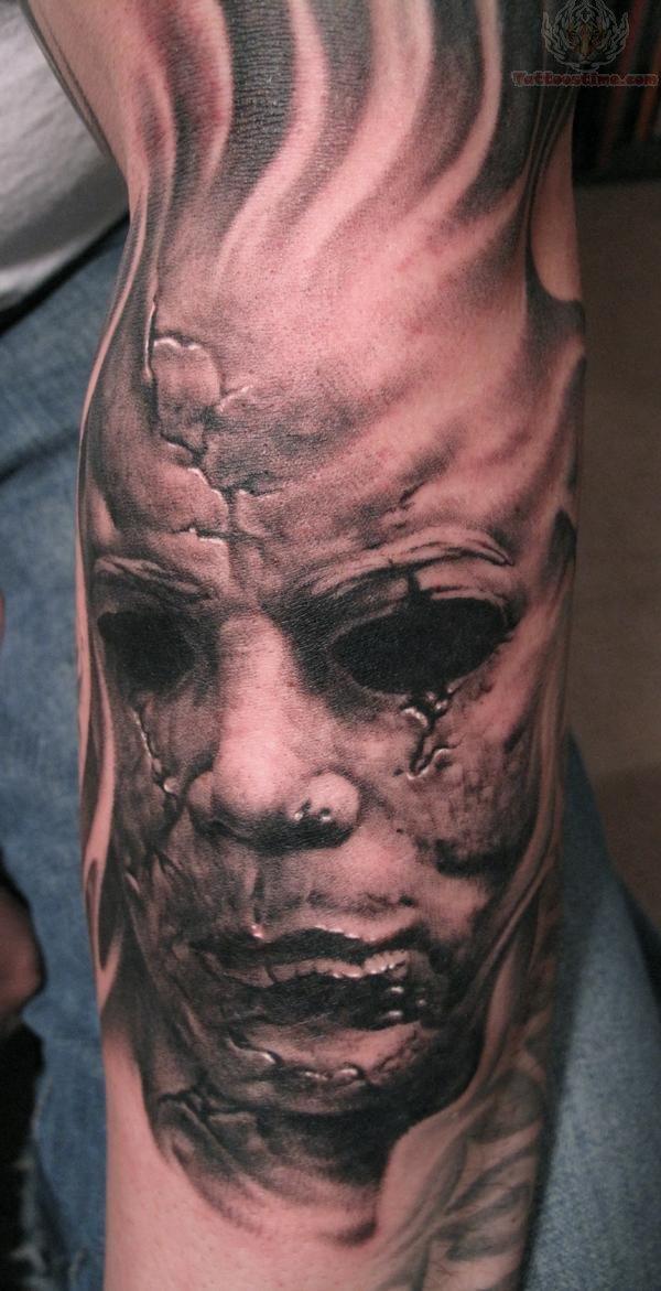 horror face skull tattoo. Black Bedroom Furniture Sets. Home Design Ideas