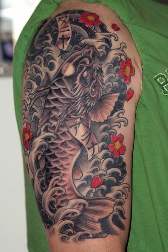 Black dragon koi fish tattoo for Black dragon koi