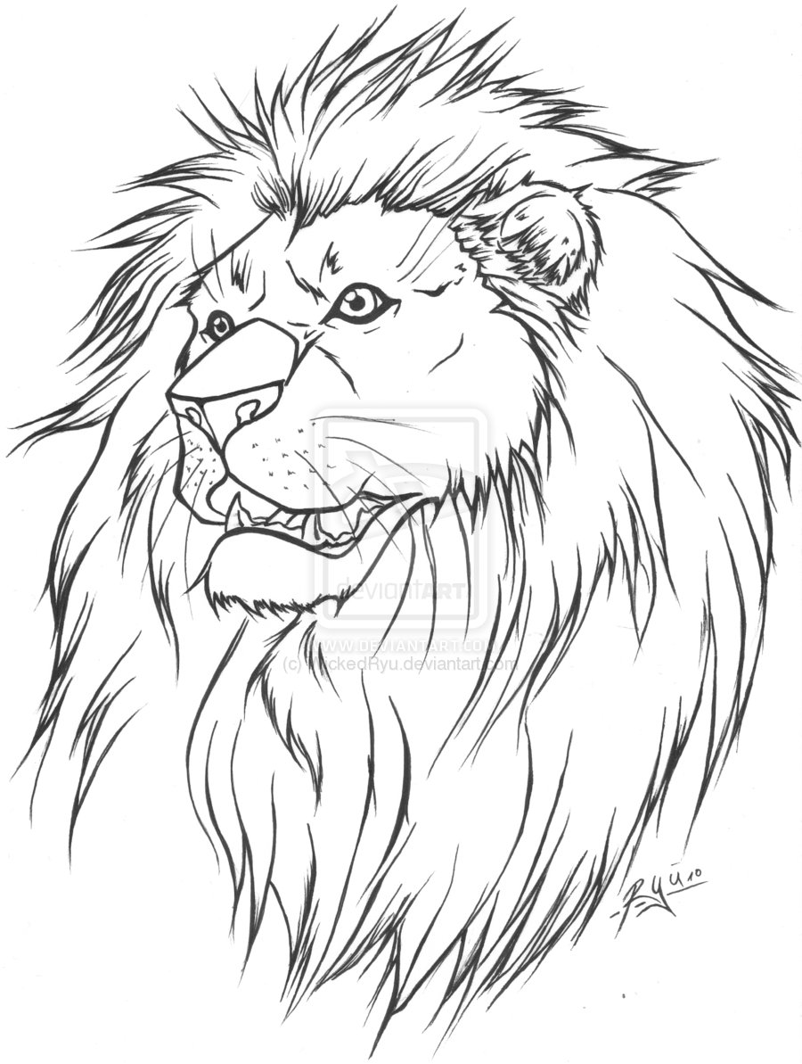 Line Art Lion : Line art tattoos