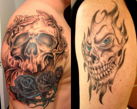 Star arm skull tattoo for Pictures of skull tattoos