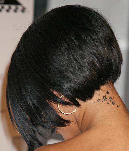 Tattoo stars on neck