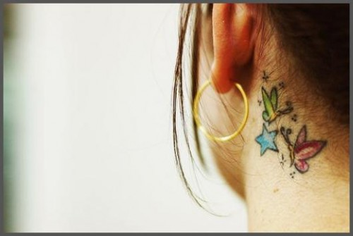 behind the ear tattoo designs, behind the ear tattoos, cute behind the ear girls tattoos, tattoo behind the ear