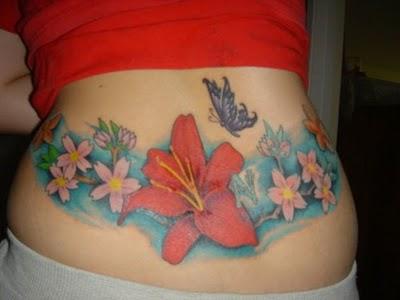 lower back flower tattoo designs. Black Bedroom Furniture Sets. Home Design Ideas