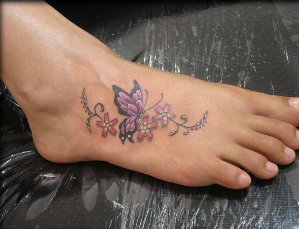 Butterfly Tattoos on Foot Meaning| Pictures| Designs