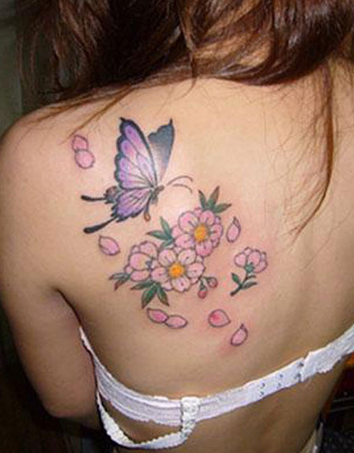 Butterfly and Flower Tattoo Designs, tattoo designs, tattooing, tattoos, designs, piercing, ink, pictures, images, Butterfly and Flower