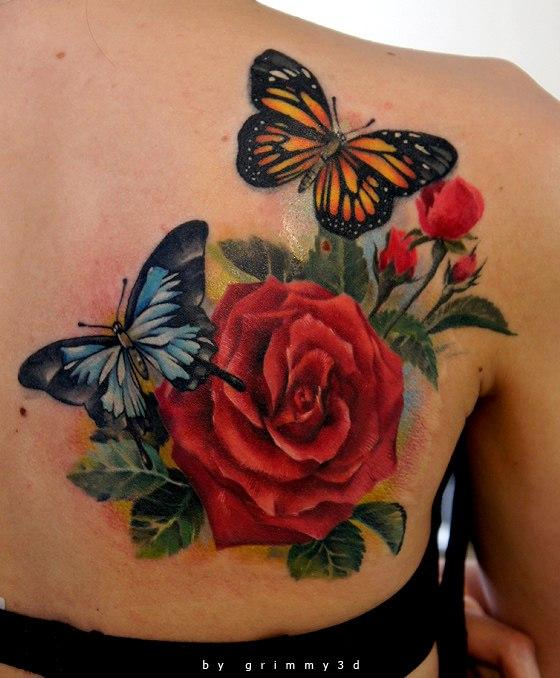 butterfly and flower tattoo designs. Black Bedroom Furniture Sets. Home Design Ideas