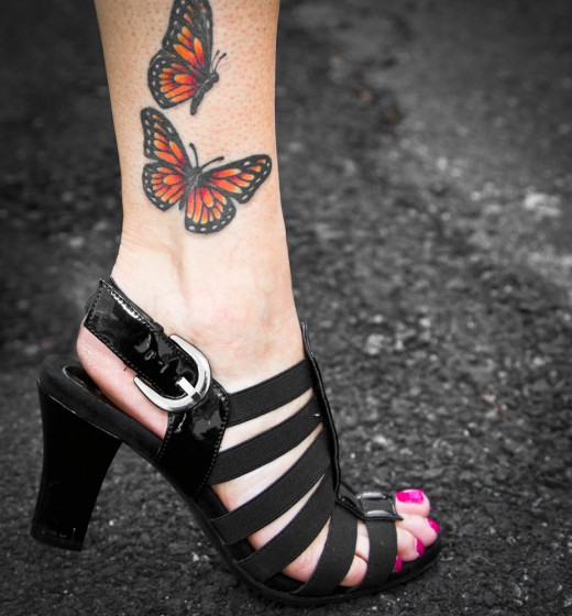 Butterfly ankle Tattoo Designs, tattoo designs, tattooing, tattoos, designs, piercing, ink, pictures, images, Butterfly ankle