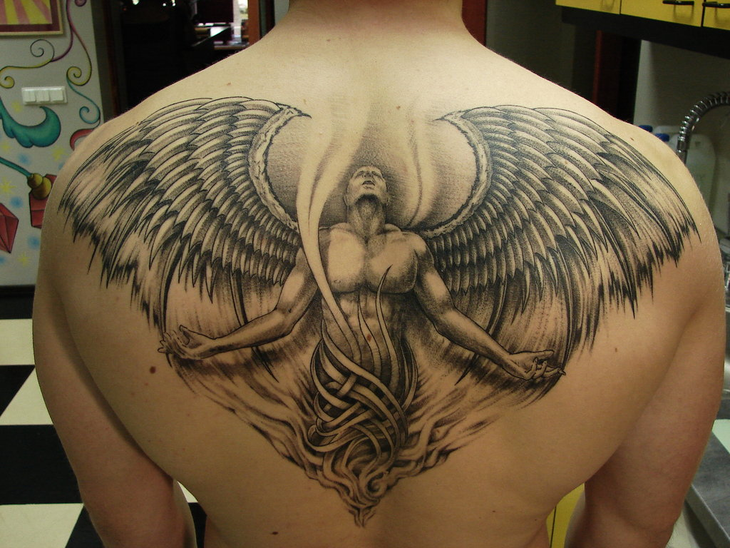 angel back tattoos. Black Bedroom Furniture Sets. Home Design Ideas