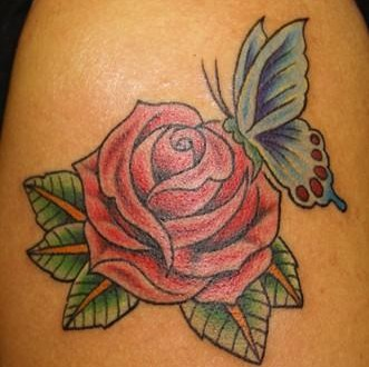 butterfly rose tattoos. Black Bedroom Furniture Sets. Home Design Ideas