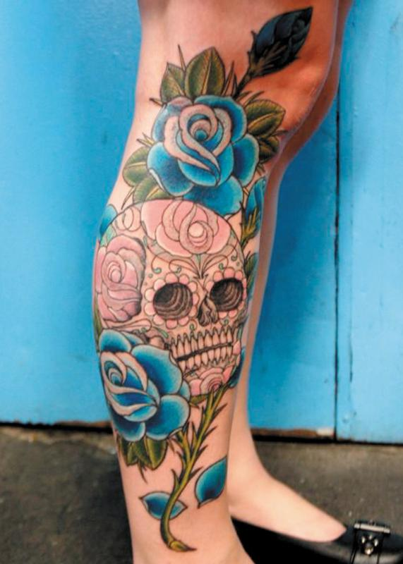 Girl leg awful skull tattoo for Skull leg tattoos
