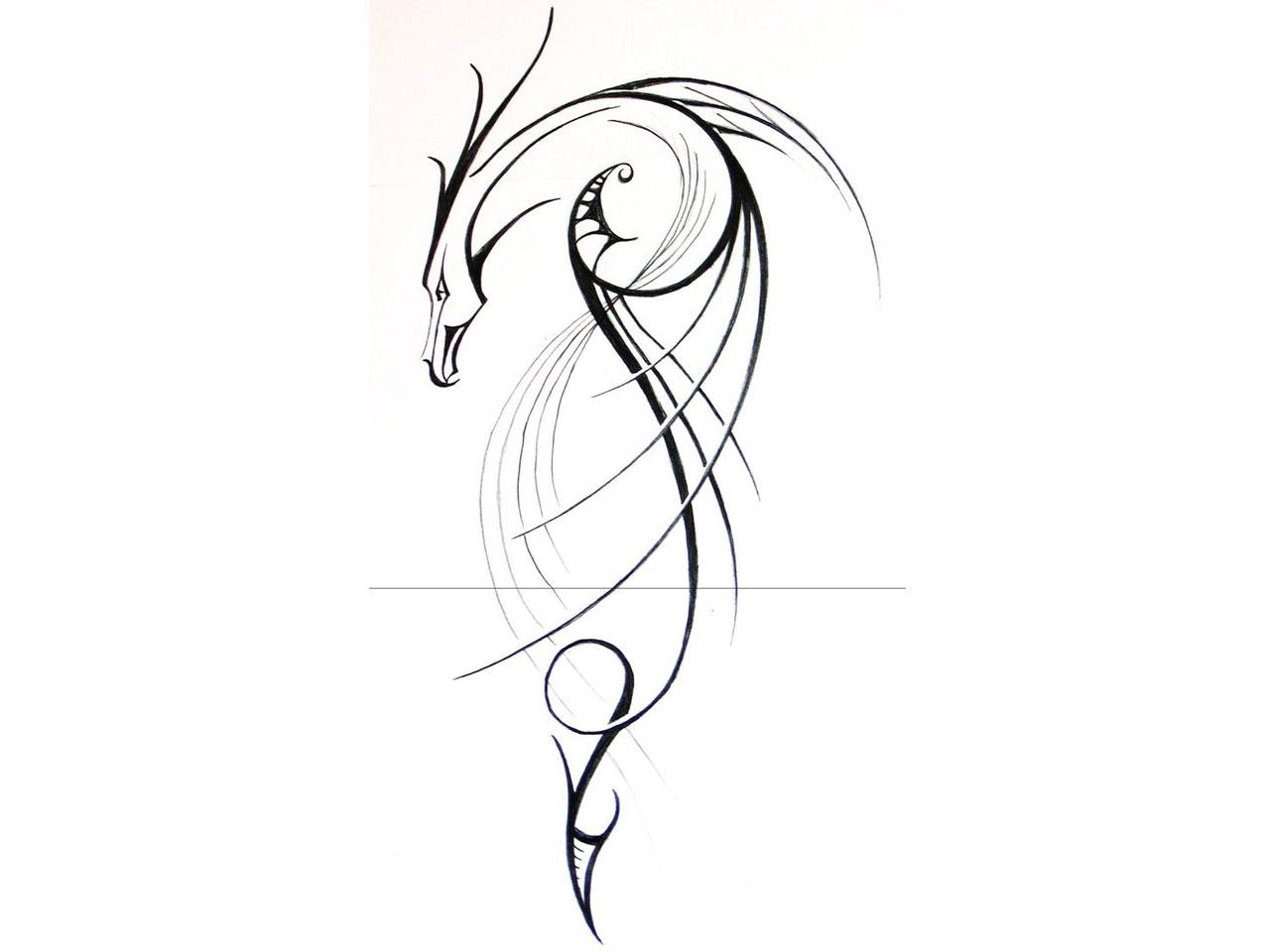 simple dragon tattoos. Black Bedroom Furniture Sets. Home Design Ideas